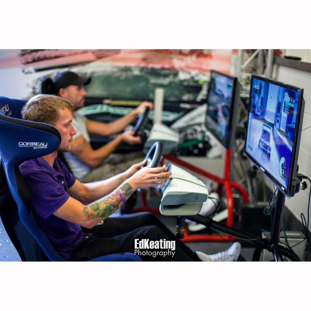 Sim-racing set-up with single screen and custom Corbeau Bucket Seat