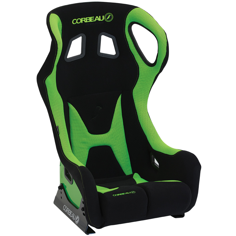 Corbeau Revolution X Bucket Seat in Green/Black with Elite Upgrade Option