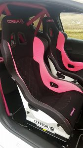Corbeau Custom Bucket Seats: Sprint X in Black with pink trim
