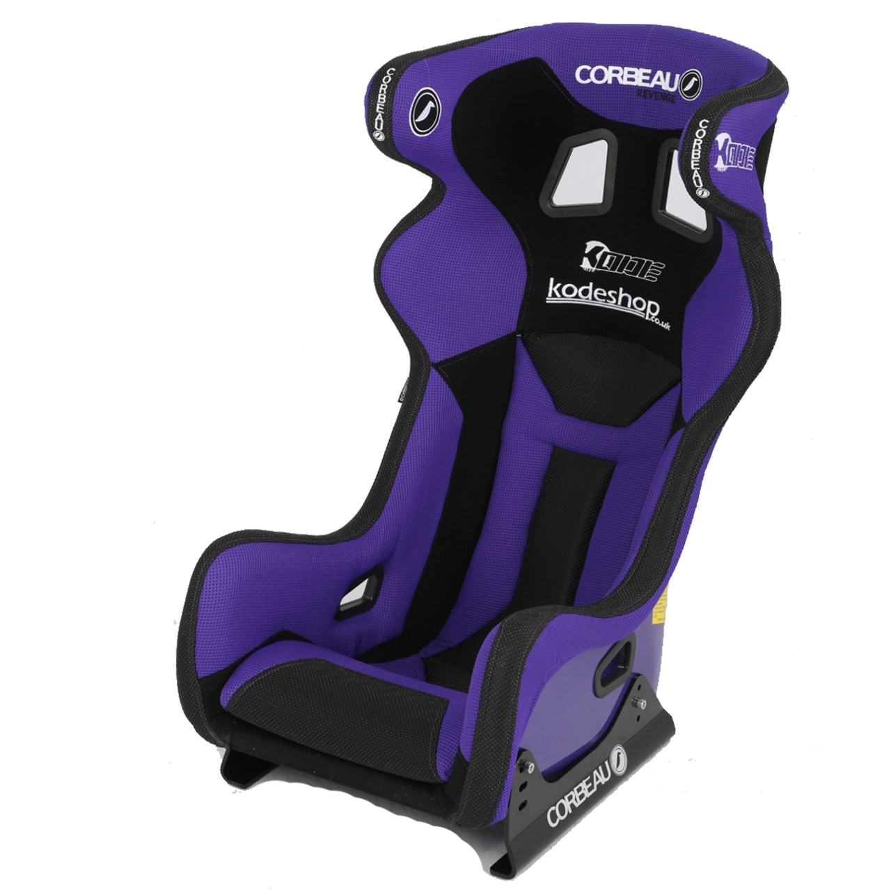 Corbeau Revenge X Racing Seat with KODE/Kodeshop branding and custom Purple/Black upgrade