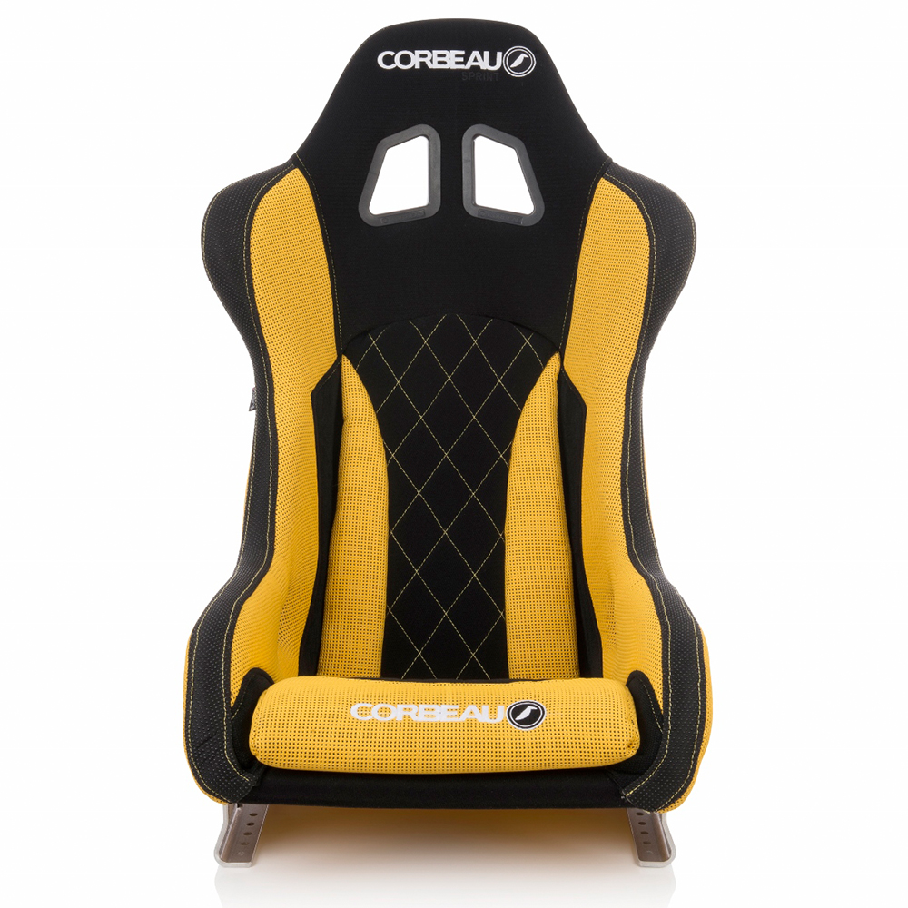 Corbeau Sprint X Black and Yellow Racing Seat - front view