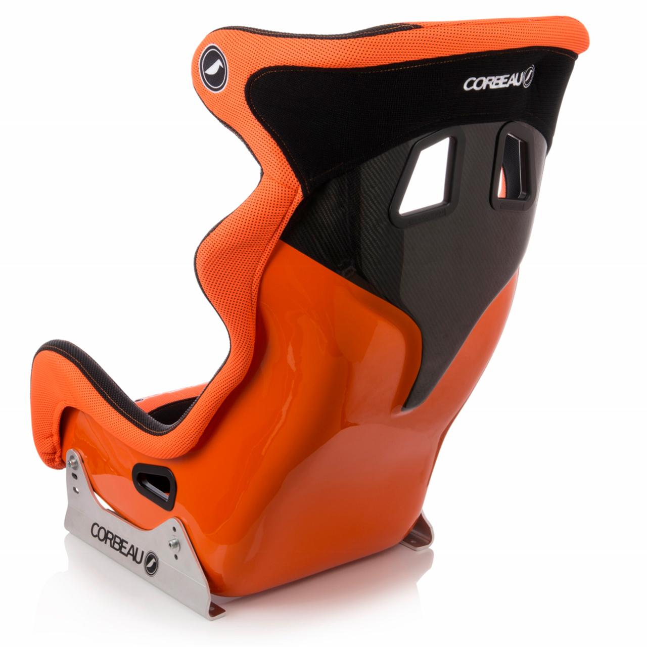 Corbeau Revenge X Bucket Seat in Black/Orange - side/back view