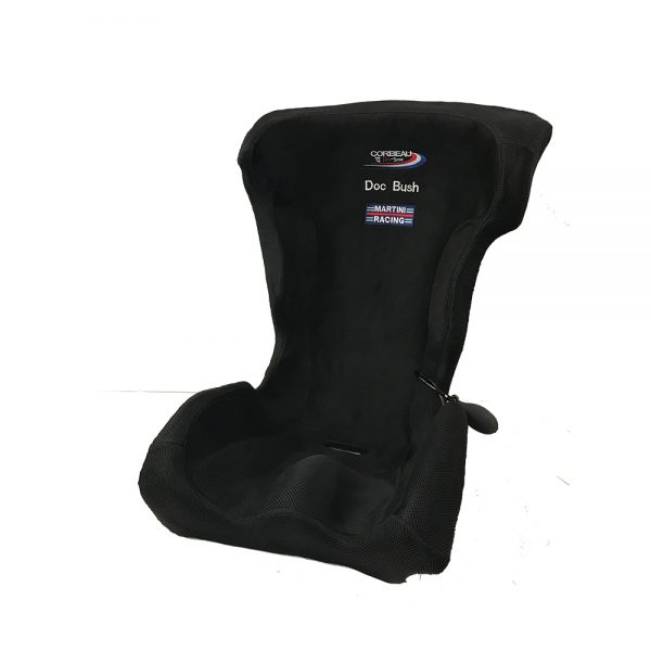 Corbeau Custom Bucket Seat Bead Cushion with Doc Bush and Martini Racing emroidered logo