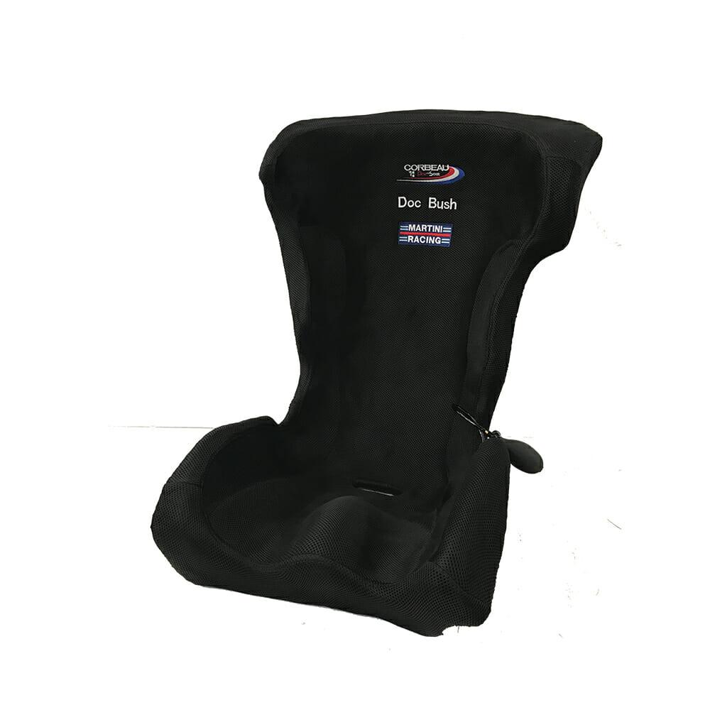 Corbeau Custom Bucket Seat Bead Cushion with Doc Bush and Martini Racing emroidered logo