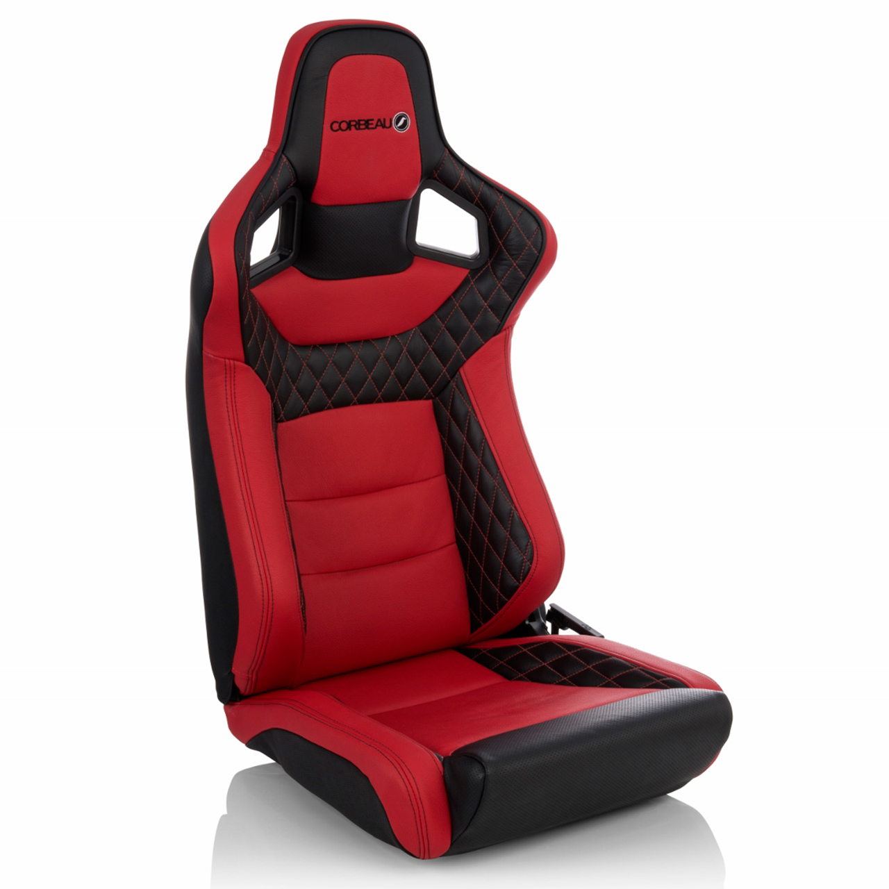 Corbeau Sportline RRS Reclining Bucket Seat (Low Base) with Red and Black Elite Upgrade