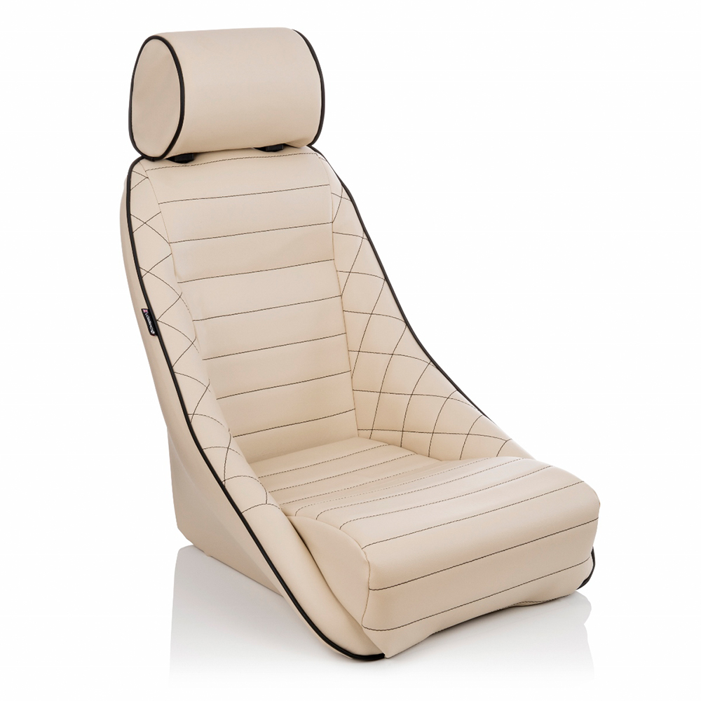 Corbeau Classic Alpine Bucket Seat with Elite Upgrade: Cream leather and black stitching