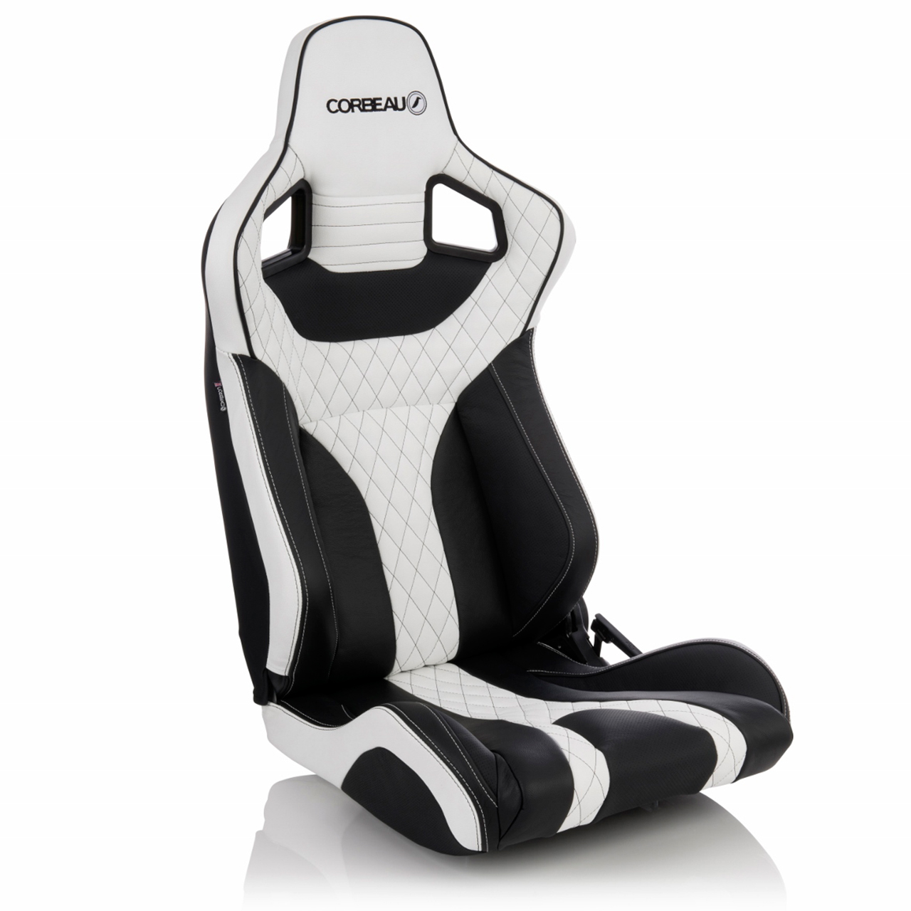 Corbeau Sportline RRS Reclining Race Seat with Black/White Elite Upgrade - side view