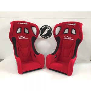 Pair of Red Corbeau Revolution X Bucket Seats