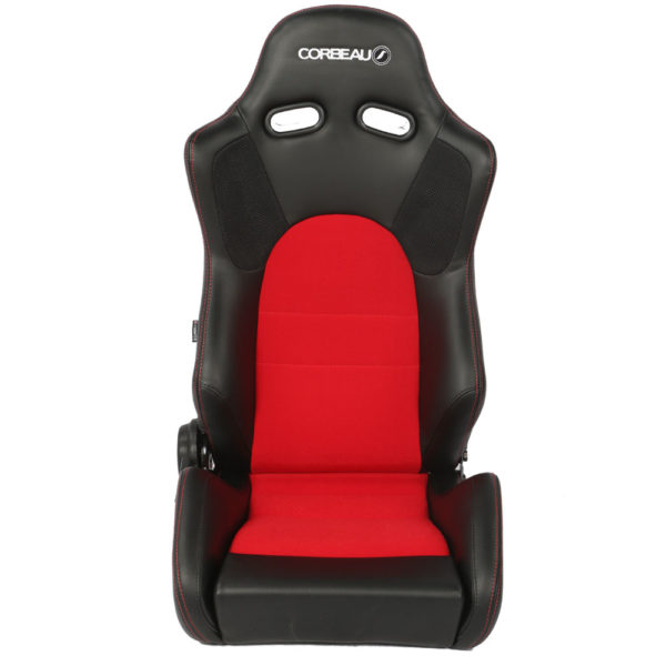 Corbeau Seats RS1 Reclining Bucket Seat in Black Vinyl with a Red Centre