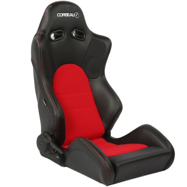 Corbeau Sportline RS1 Reclining Bucket Seat (right side view) in Black Vinyl with a Red Centre