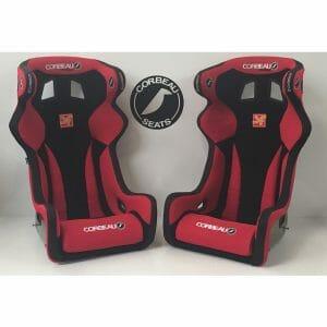 Pair of Red Corbeau Revenge X Custom Bucket Seats