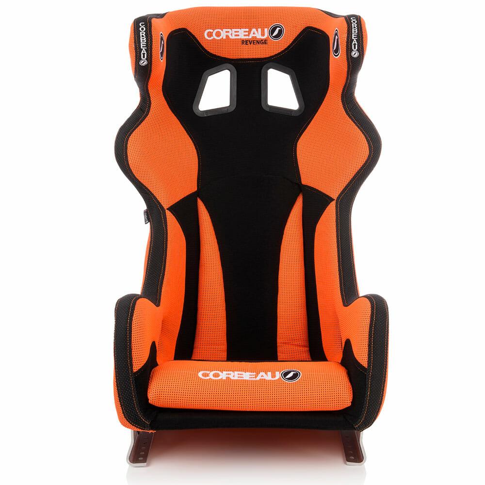 Corbeau Revenge X Custom Bucket Seat in Orange, front view