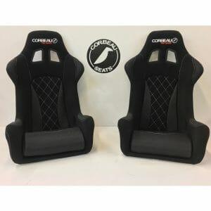 Pair of Corbeau Revenge X Custom Racing Seats in Black and Grey