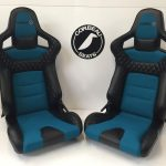 Pair of Corbeau RRS Bespoke Bucket Seats in Black/Teal - Reclining Bucket Seats