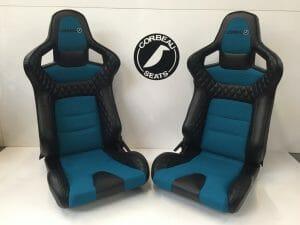 Pair of Corbeau RRS Bespoke Bucket Seats in Black/Teal - Reclining Bucket Seats