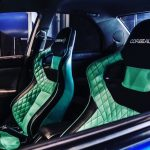 Corbeau RRS Sportline Custom Bucket Seats fitted in Car in Black/Green Elite Upgrad