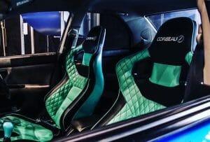 Corbeau RRS Sportline Custom Bucket Seats fitted in Car in Black/Green Elite Upgrad