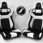 Pair of Corbeau RRS Reclining Bucket Seats in Custom Black/White Elite Upgrade