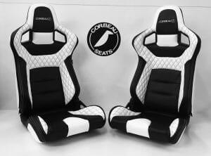 Pair of Corbeau RRS Reclining Bucket Seats in Custom Black/White Elite Upgrade