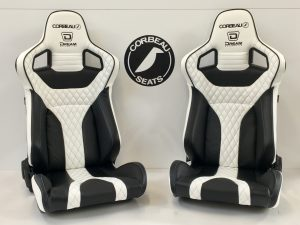 Pair of Elite RRS Custom Bucket Seats (Reclining) for Dream Automotive in Black/White