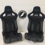Pair of Corbeau RRS Sportline Reclining Bucket Seats with Custom Black Leather and Blue Piping with RS logo Embroidery