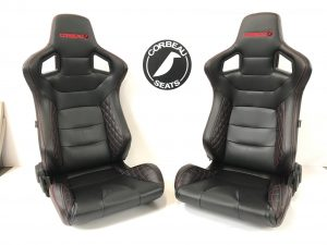 Pair of Corbeau RRS Reclining Bucket Seats with Custom Black Leather and Red Stitching