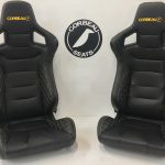 Corbeau RRS Elite Upgrade Reclining Bucket Seats in Black with Yellow/Orange
