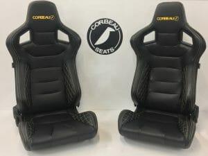 Corbeau RRS Elite Upgrade Reclining Bucket Seats in Black with Yellow/Orange