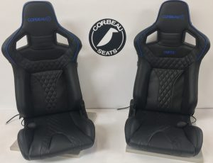 Pair of R.Buckley Black/Blue Corbeau Elite RRS Custom Reclining Bucket Seats in Black Leather with Blue Piping and Embroidery