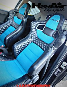 Pair of Corbeau RRS Elite Reclining Bucket Seats with Blue Leather and Light Blue Vinyl in Racing Car