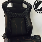 Corbeau RRS Elite Reclining Bucket Seat in Black with Black Piping and Gold/Silver Stitching