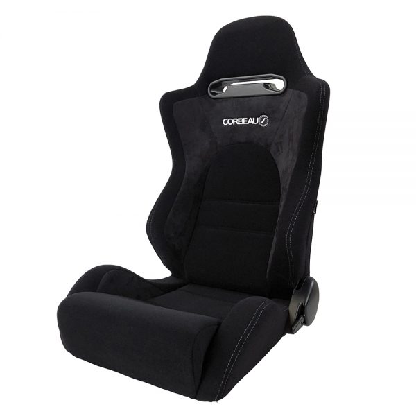 Corbeau RS2 Reclining Bucket Seat in Black - side view