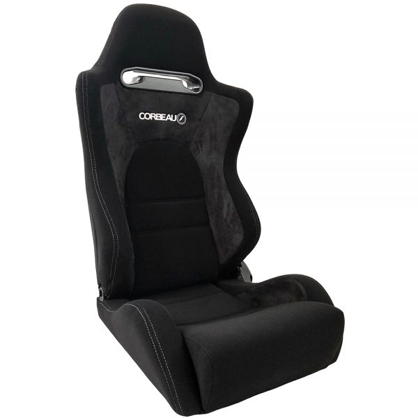 Corbeau RS2 Reclining Bucket Seat in Black - front view