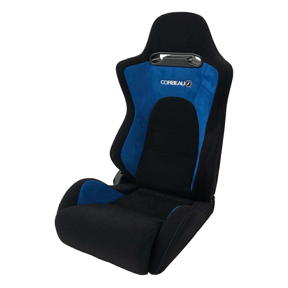 Corbeau RS2 Reclining Bucket Seat in Black/Blue - side view