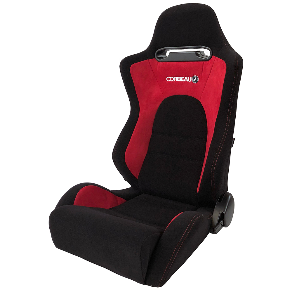 Corbeau RS2 Reclining Bucket Seat in Black/Red - side view