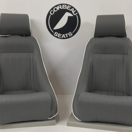Pair of Classic Custom Bucket Seats in Grey Vinyl with White Piping