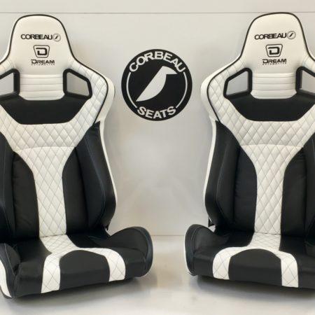Black and White Custom RRS Bucket Seats by Corbeau Seats