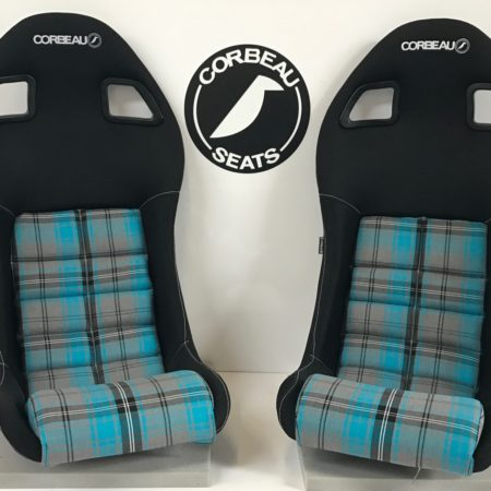 Black and Blue Tartan Cucket Lotus Bucket Seats - Corbeau Seats LE-Pro