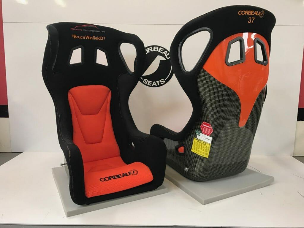 Red & Black Custom Bucket Seats For Bruce Winfield by Corbeau Seats