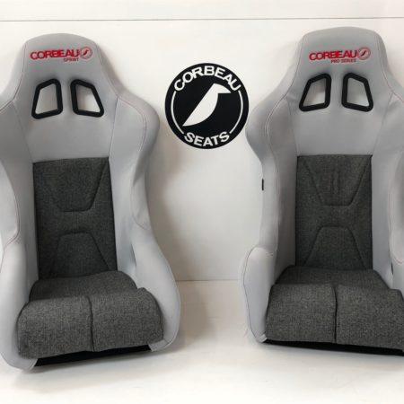 Pair of Grey Custom Racing Seats by Corbeau Seats - Elite Upgrade