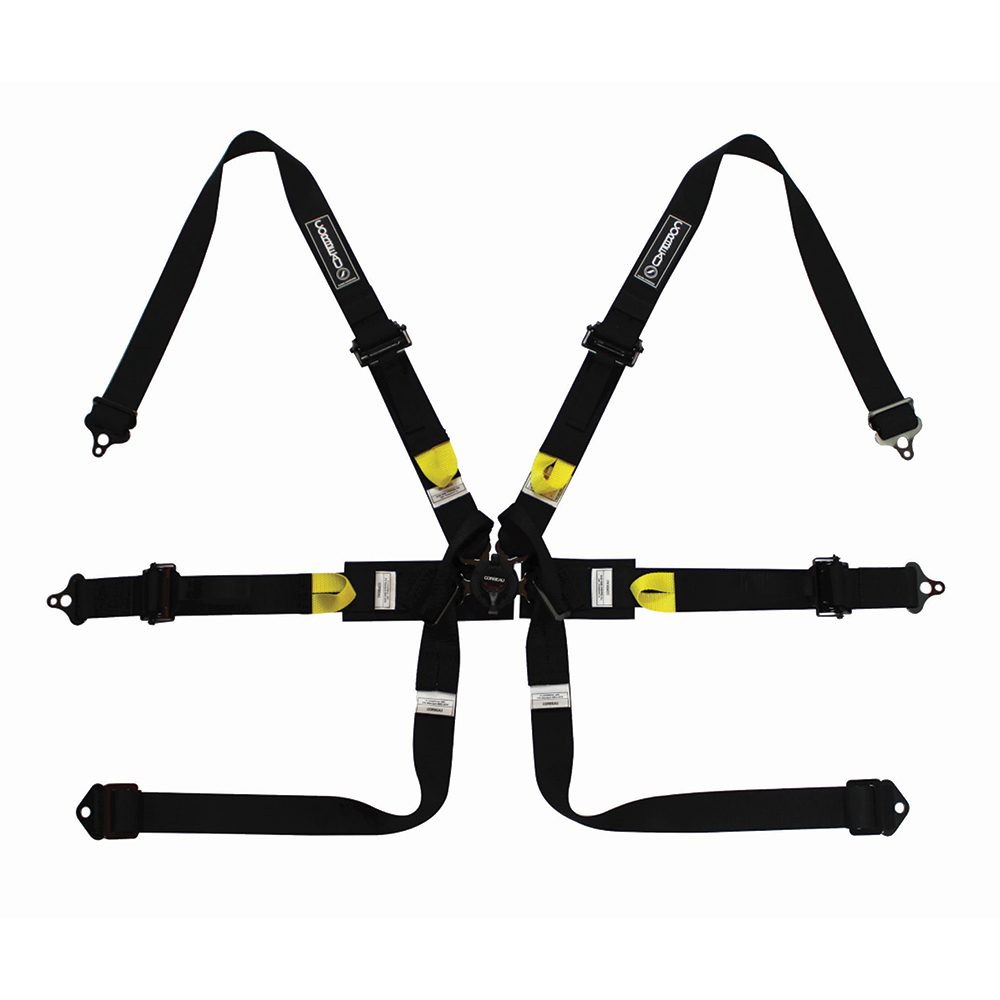 Corbeau Ultima Pro 6 Point Racing Harness F2026 in Black with Yellow Detail