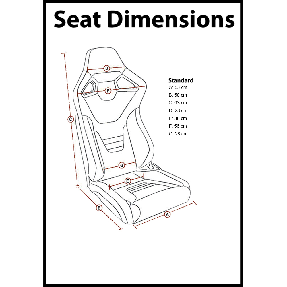 RXI Low Base Bucket Seat Dimensions 2020