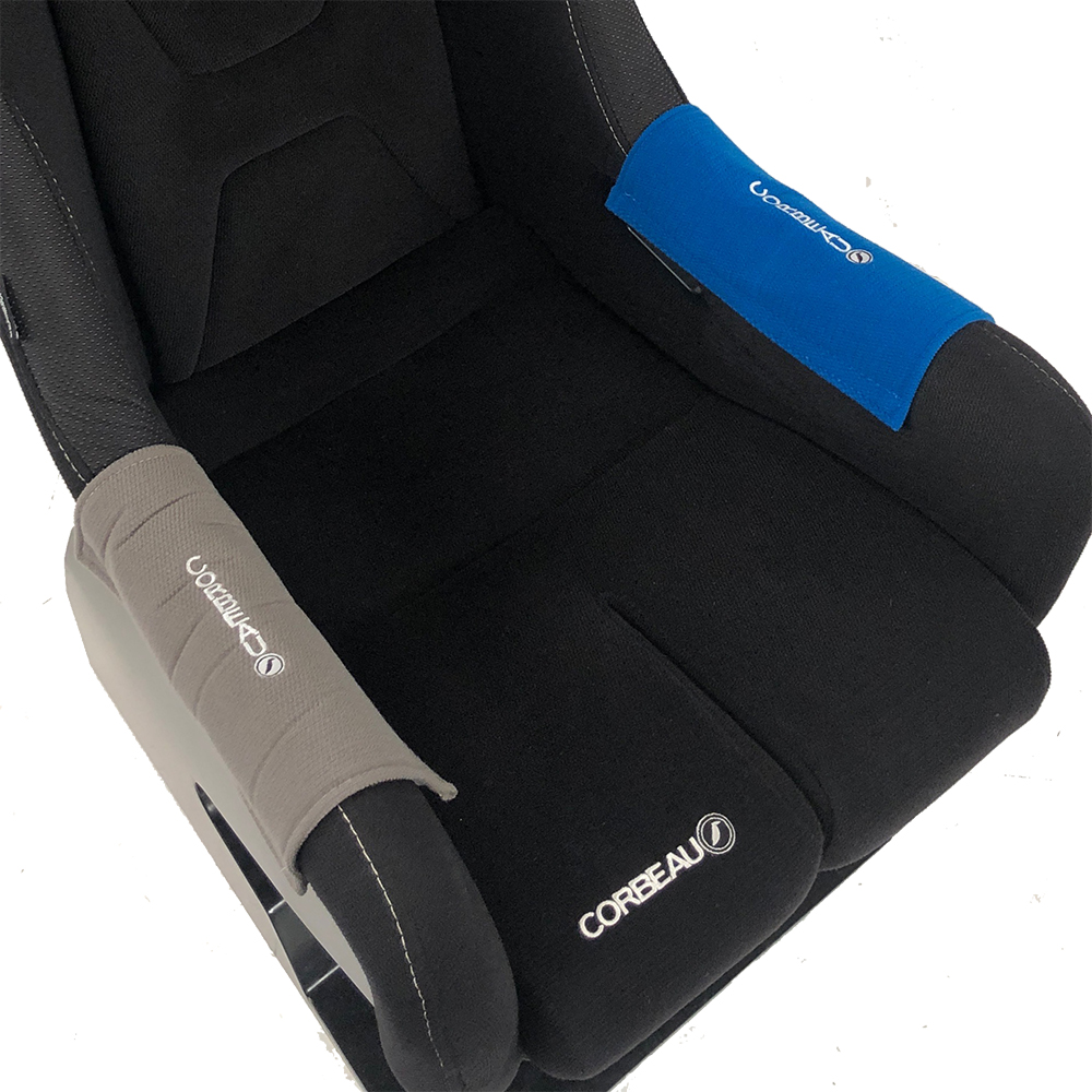 Blue Side Bolster Protectors for our Fixed-Back Bucket Seat Range - Corbeau Seats