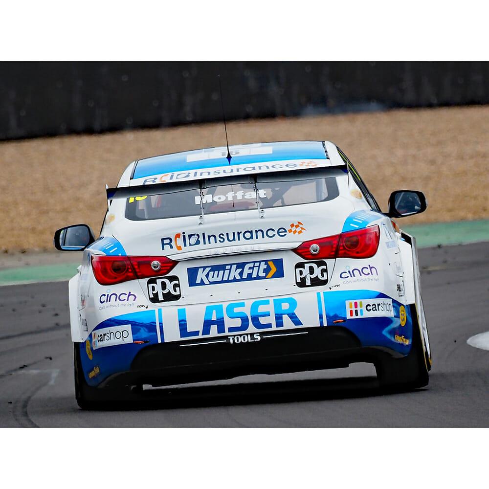 BTCC Infinity Racing 2020 Car on Track, Moffat testing out Predator Bucket Seat