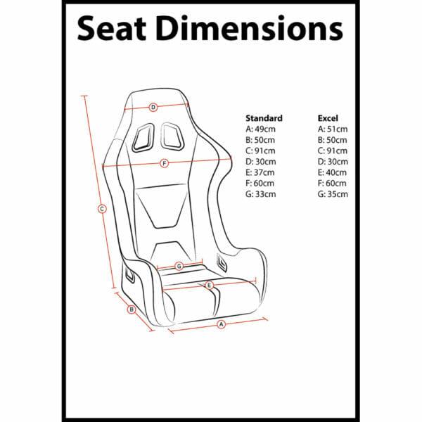 Corbeau Pro-Series X Bucket Seat Dimensions
