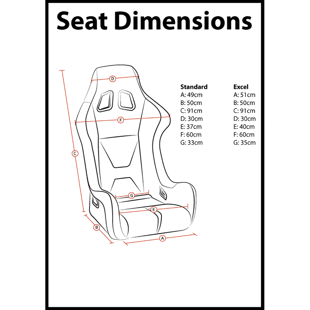 Corbeau Pro-Series X Bucket Seat Dimensions