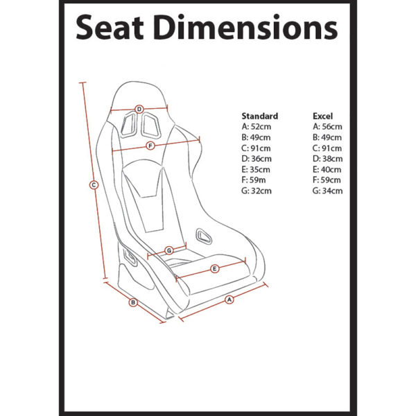 Corbeau RXC Bucket Seat Dimensions