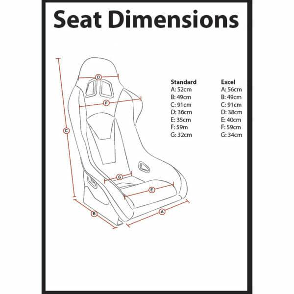 Corbeau RXC Bucket Seat Dimensions