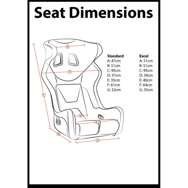 Corbeau Revenge X Bucket Seat Dimensions