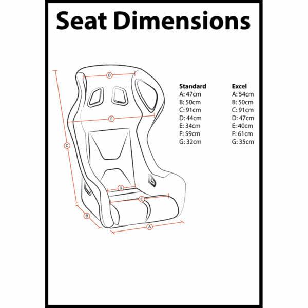 Corbeau Revolution X Bucket Seat Dimensions